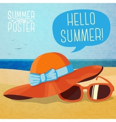 Cute summer poster - hat and sun glasses on the vector