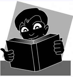 Boy reading vector