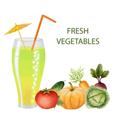 Vegetables drink in glasses vector