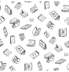 Open books drawing seamless pattern background vector