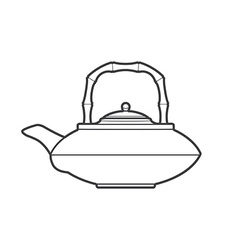 Outline asian teapot vector