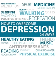 Ways how to overcome depression vector