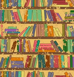 Vintage seamless pattern of bookshelf with books vector