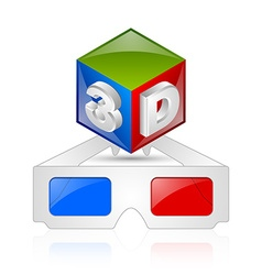 Anaglyphic 3D glasses and cube vector image