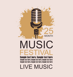 banner for music festival with a microphone vector image vector image
