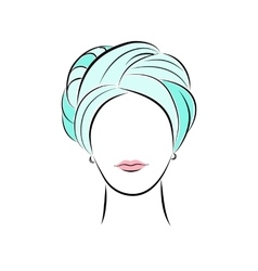 Beautiful young woman in turquoise turban vector image vector image