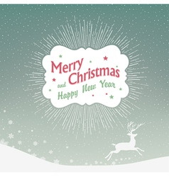 Christmas card with deer silhouette vector