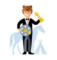 cinema award best actor flat style vector image