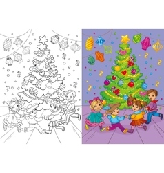 Coloring book of christmas carnival rounde dance vector