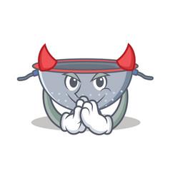 Devil colander utensil character cartoon vector