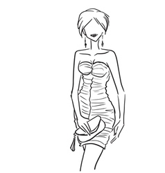 Elegant sexy woman in dress with clutch vector image vector image