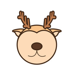 Face reindeer cartoon animal vector