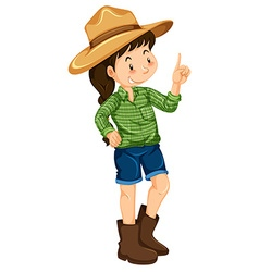 Farm girl wearing hat and boots vector image vector image