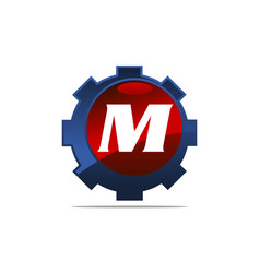 Gear logo letter m vector