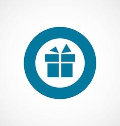 Gift bold blue border circle icon vector