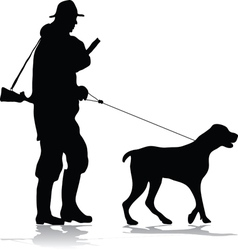 Hunter and dog silhouette vector image