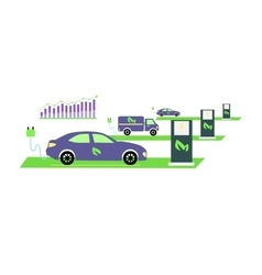 Icon flat growing popularity electric vehicles vector
