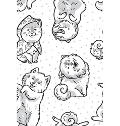 Ink samoyed puppies in the snow endless vector