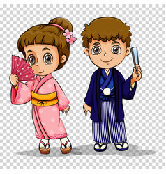 Japanese boy and girl in costume vector