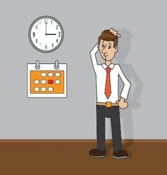 man looking at clock and calendar vector image vector image