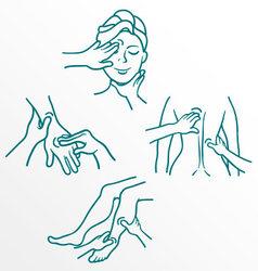 Massage as a medical procedure line set vector