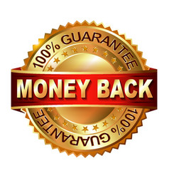 Money back guarantee golden label with ribbon vector