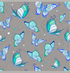 pattern of blue butterflies on a gray vector image vector image