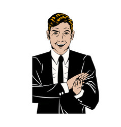 Pop art man suit applauding hands vector