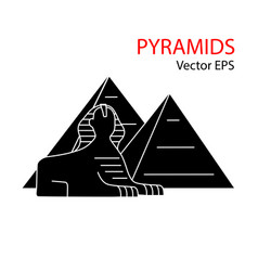 Printsphinx and pyramid egypt flat icon vector