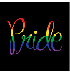 Rainbow script pride on black vector