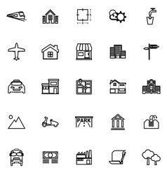 Real estate line icons on white background vector