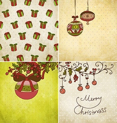 Retro christmas background set vector