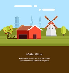 Rural Farm Landscape Red Farm Barn and Mill Flat vector image