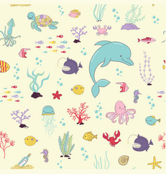sea animals cartoon seamless pattern vector image