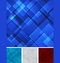 set abstract blue red gray square shape vector image vector image