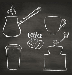 set of coffee cup grinder pot grunge contours vector image vector image