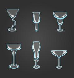 set of stemware vector image