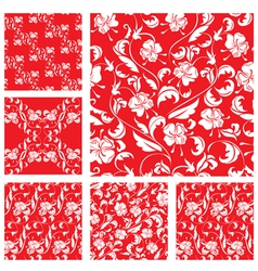 Set of vintage ornate seamless patterns with white vector