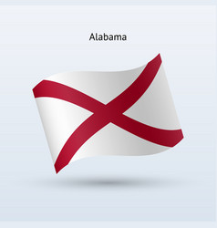 state of alabama flag waving form vector image vector image