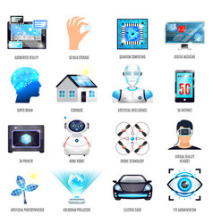 Technologies of future icons set vector