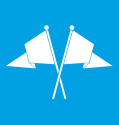 Two flags icon white vector