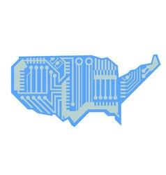 USA Map Circuit Board Design vector image