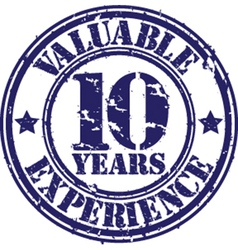 Valuable 10 years of experience rubber stamp vect vector image vector image
