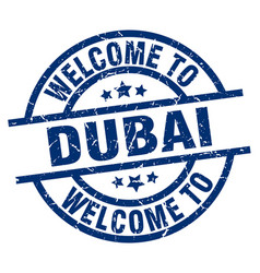 Welcome to dubai blue stamp vector