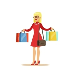 Woman With Many Paper Bags Shopping In Department vector image vector image
