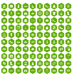 100 woman shopping icons hexagon green vector