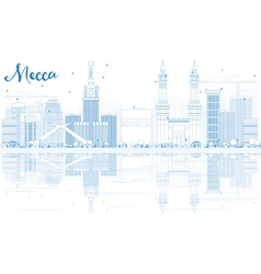 Outline mecca skyline with blue landmarks vector