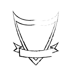 Shield element protect and ribbon sketch vector