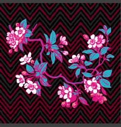 hand drawn branch flower roses sakura vintage vector image
