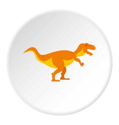 Orange tyrannosaur dinosaur icon circle vector